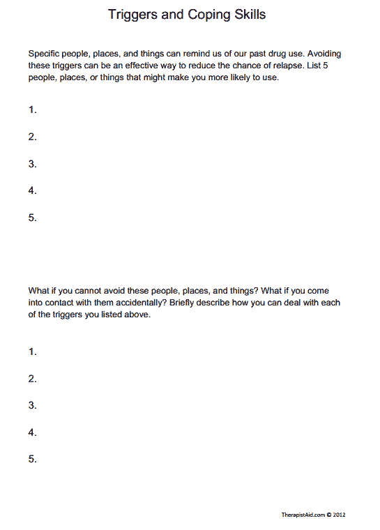 Triggers and Coping Skills Worksheet – Relapse Prevention Plan Worksheet