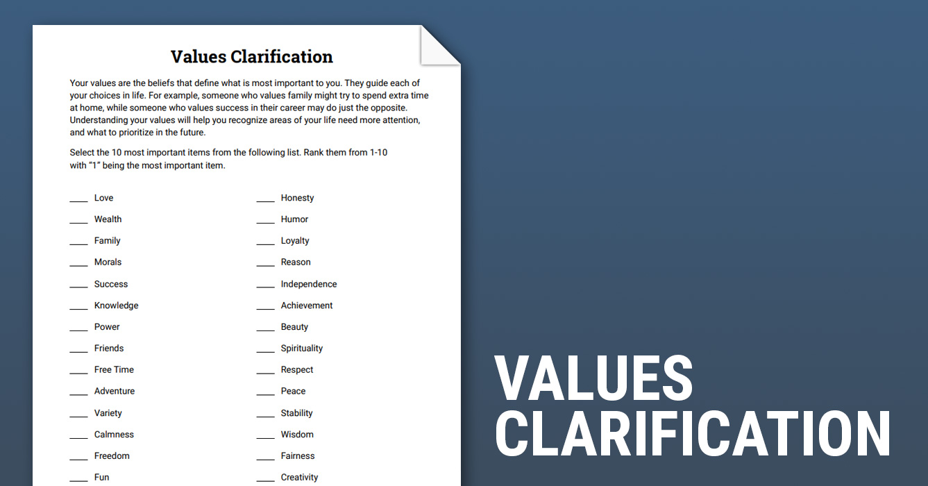 Values Clarification (Worksheet) | Therapist Aid