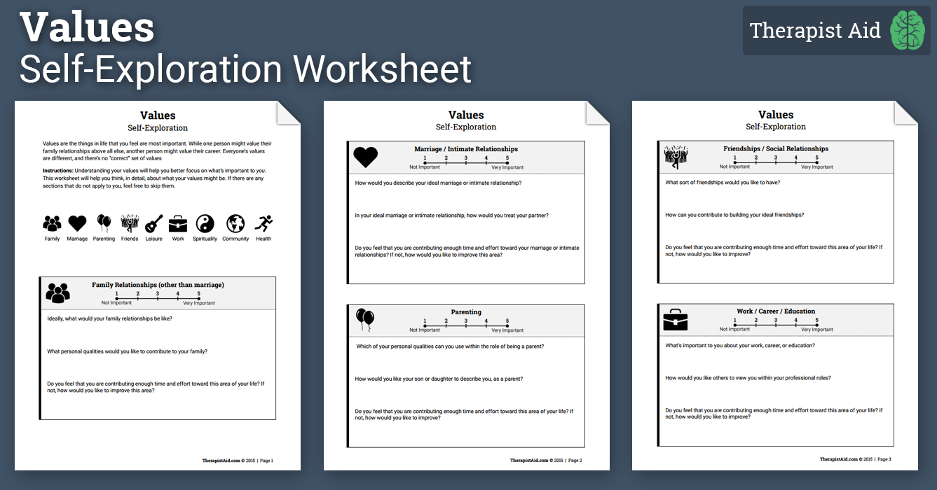 Values: Self-Exploration (Worksheet) | Therapist Aid