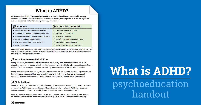 Workbooks impulsivity worksheets : What is ADD / ADHD? (Worksheet) | Therapist Aid