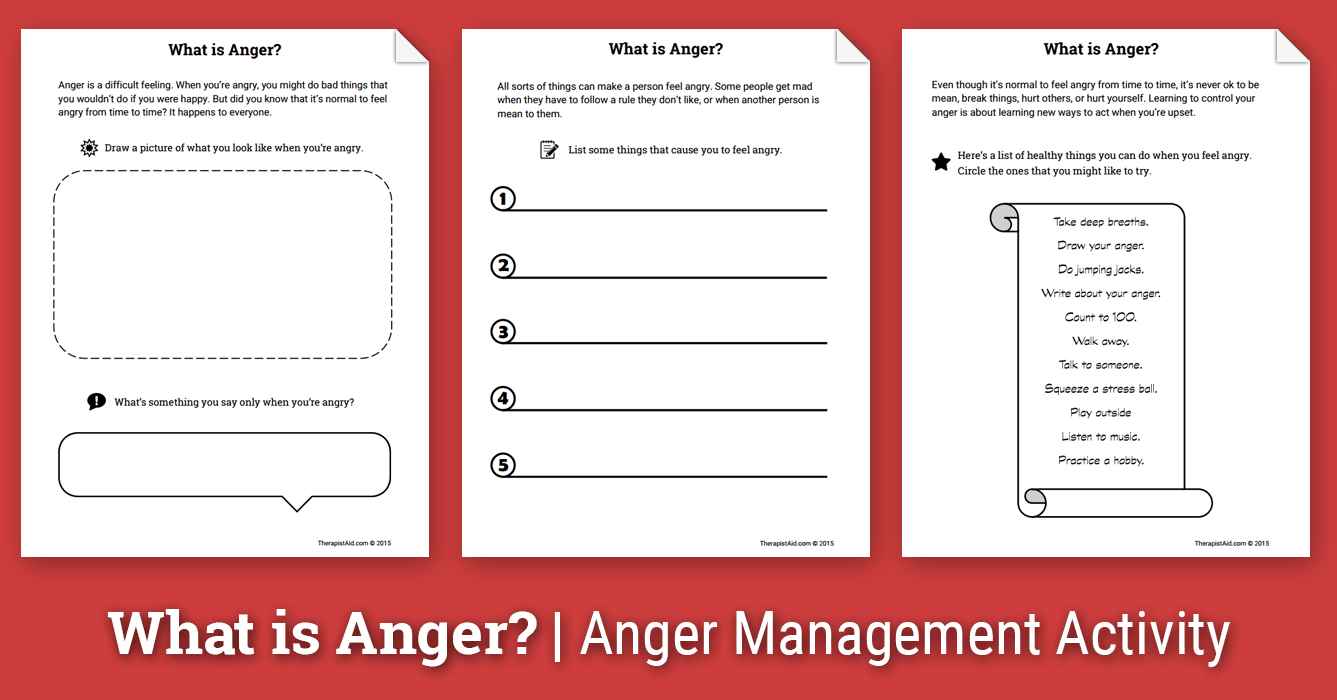 Anger Activity for Children: What is Anger? (Worksheet) | Therapist Aid