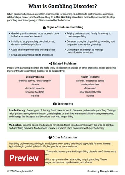 Gambling Disorder Info Sheet Preview