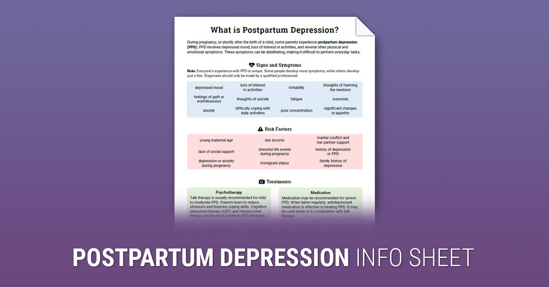 Postpartum Depression Info Sheet (Worksheet) | Therapist Aid