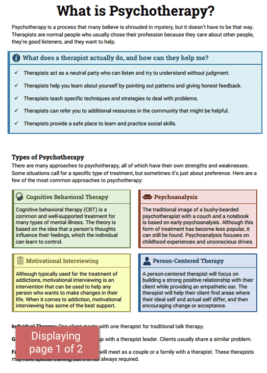 Psychotherapy Info Sheet Preview