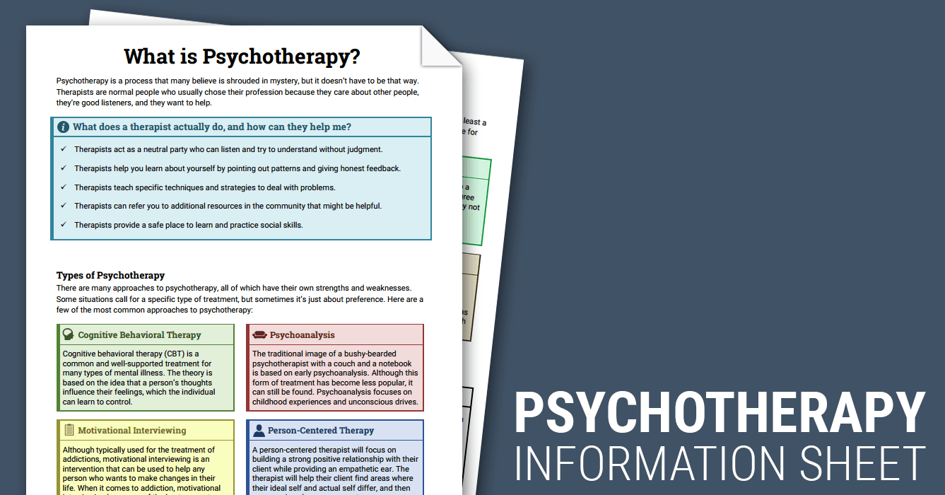 Psychotherapy Info Sheet (Worksheet) | Therapist Aid