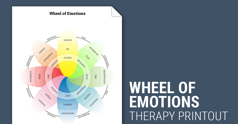 Wheel Of Emotions Worksheet Therapist Aid